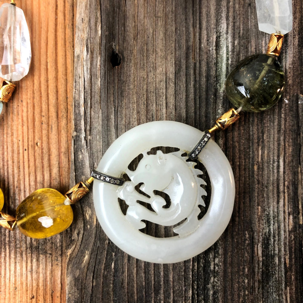 Collier antica giada e tormaline.